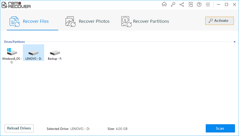 Recover Deleted Document - Main Window
